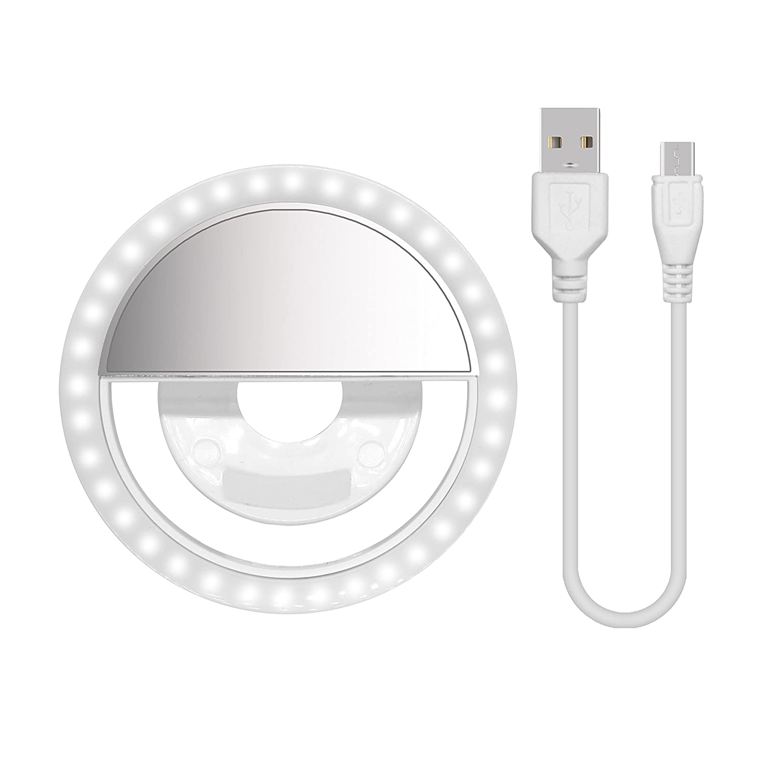 Selfie Ring Light, 2E·YOU Rechargeable Battery with 36 LED Outdoor Webcast Indispensable Supplementary Light For Most Smart Phones, Ipad, Brightness Levels Adjustable, White