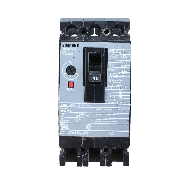 Siemens Ite Ed63a040 Type Ed6 Eti 3p 40a Motor Circuit Interrupter Add A Breaker Thermal Magnetic Breakers
