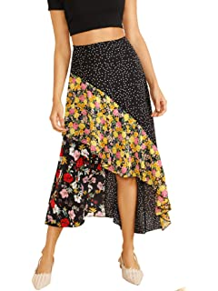 6f198b3ba WDIRARA Women's High Waist Asymmetrical Beige Floral Print Dip Hem Wrap  Skirt