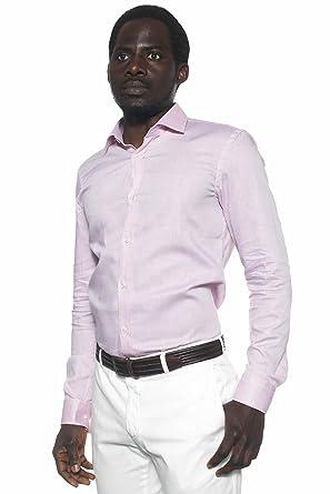 Hugo Boss Herren Legere Shirts Business-Hemd, Kein Muster Rosa Rose  Kragenweite: 39