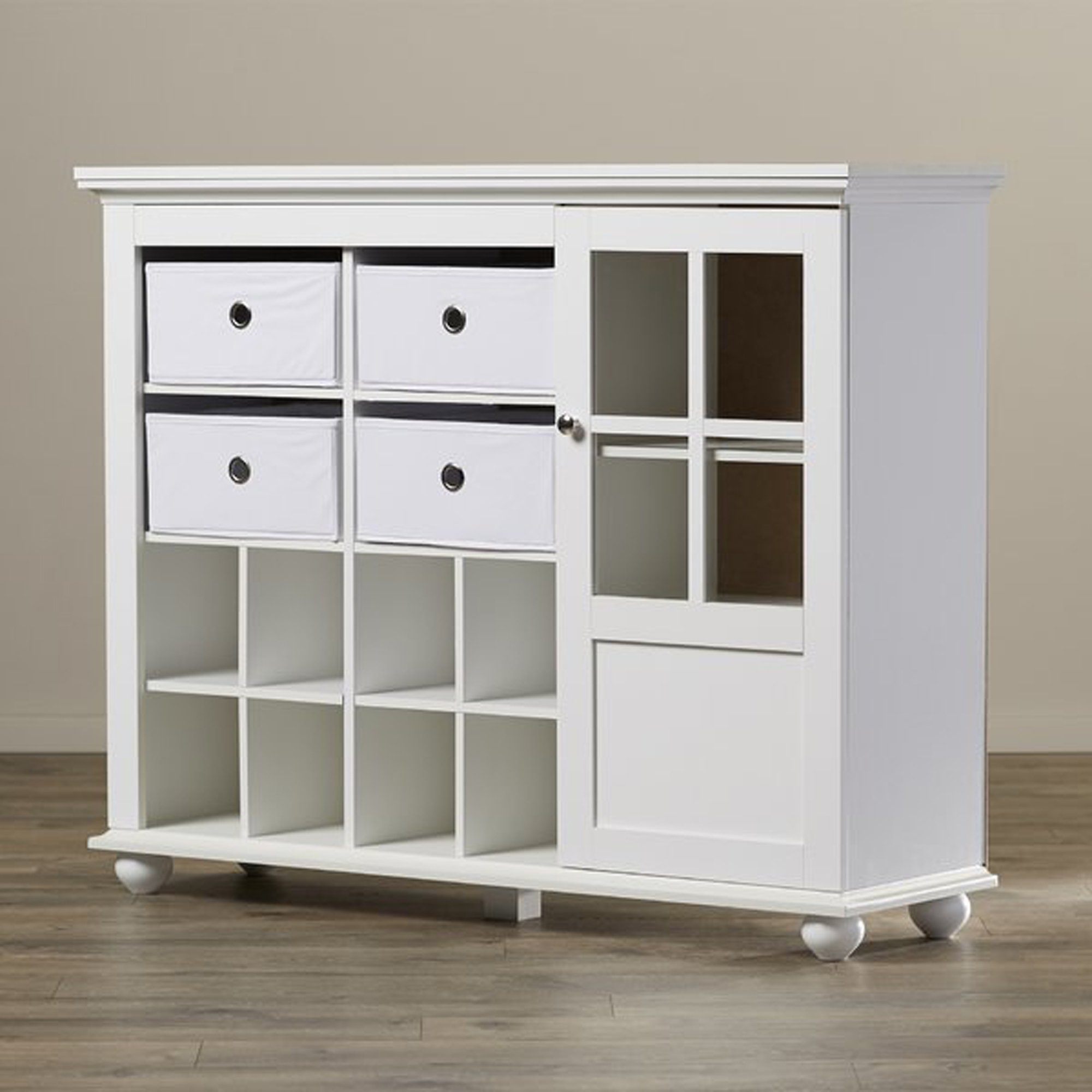 Modern White Cabinet With Bins - Accent Entryway Storage Organizer with Shoe Holder Cubbies - Hallway Console Table
