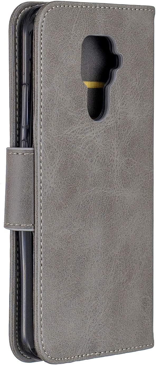 LOBFE150759 Grey Lomogo Leather Wallet Case for Huawei Mate 30 Lite//nova 5i Pro with Stand Feature Card Holder Magnetic Closure Shockproof Flip Case Cover for Huawei Mate30 Lite