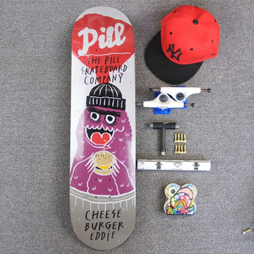 【海外 正規品】 組み立てられたシニアスケートボード両側斜めボード四輪ストリートスケートボードストリートトラベルスケートボードショートボード (色 (色 Burger : Noodles) Noodles) B07KW3C4SR Burger Burger, MONQLE:072e4bff --- a0267596.xsph.ru