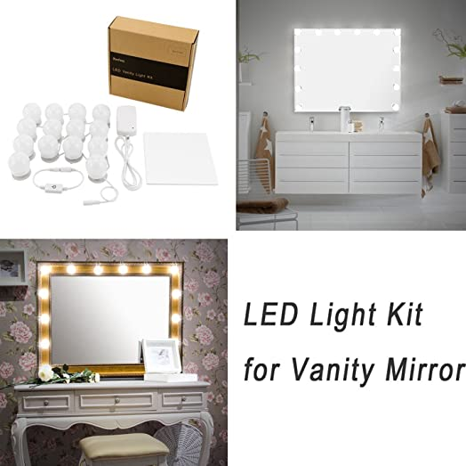 WanEway Hollywood DIY Vanity Lights Strip Kit For Lighted Makeup Dressing  Table Mirror Plug In LED