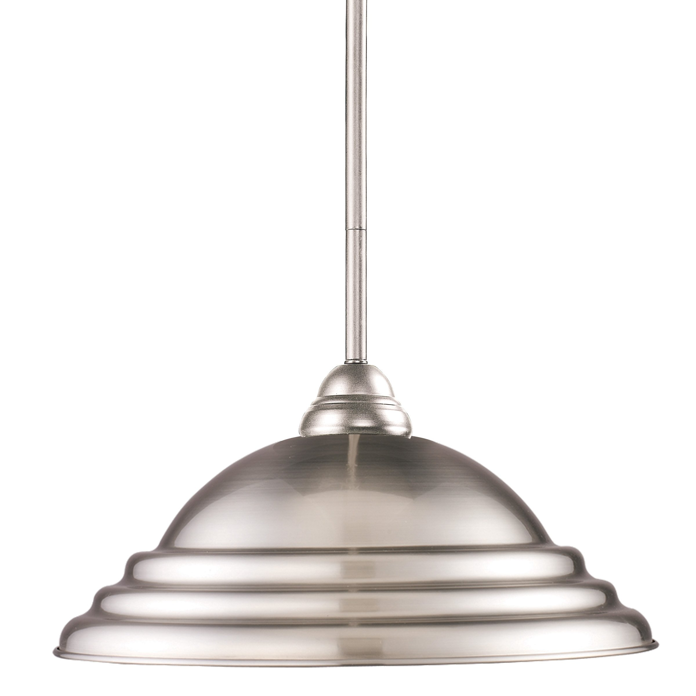 Z-Lite 2110MP-BN-SPT Riviera 1 Light Pendant, Steel Frame, Brushed Nickel Finish and Pewter Shade of Metal Material