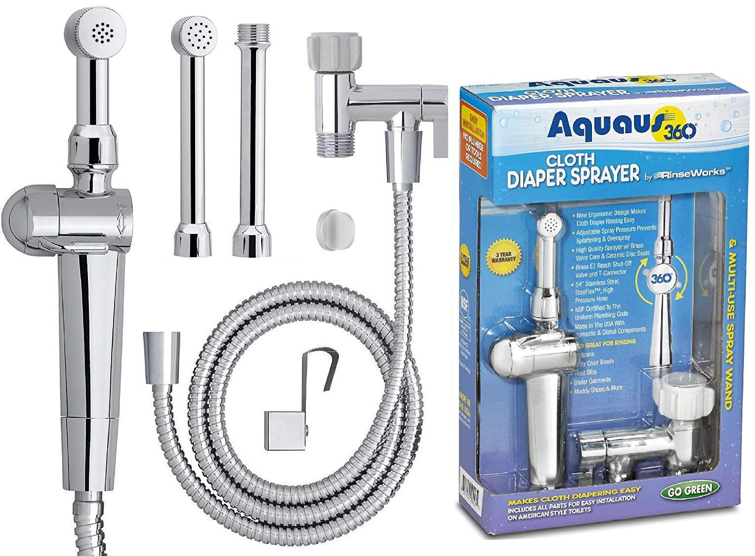 RinseWorks - Patented Aquaus 360 Diaper Sprayer - NSF Certified for Legal Installation - 3 Year Warranty - Dual Spray Pressure Controls - SafeSpray Valve Core, StayFlex Hose by RinseWorks