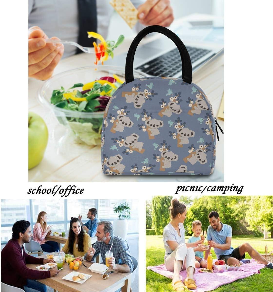 lavoro per adulti picnic per il pranzo resistente allacqua ragazze Borsa termica termica per il pranzo da donna con motivo floreale Funnyy Koala