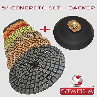 "STADEA 5"" Wet Diamond Polishing Pads Set for Concrete polishing + Rubber Backer (5/8"" 11 Threaded): Home Improvement"