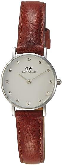 Daniel Wellington 0920DW - Reloj con correa de cuero para mujer, color blanco / marrón: Amazon.es: Relojes