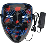 Ogrmar Scary Mask LED Light up Mask for Masquerade Festival Cosplay Costume Party (Blue)
