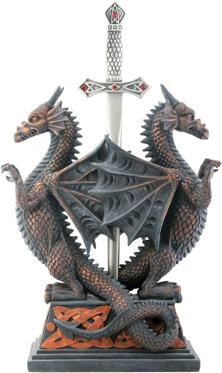 Ytc Dbl Dragon Letter Opener Collectible Figurine Office Decoration Home Kitchen