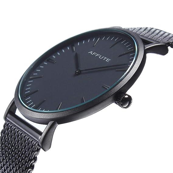 Reloj de Cuarzo de los Hombres de Acero Inoxidable de Malla Fina  Minimalista de los Hombres de Thin Minimalista  Amazon.es  Relojes d00f9df09da5