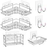 CGBE Corner Shower Caddy & Soap Dish Holder & Electric Toothbrush Holder & Adhesive Hooks No Drilling Shower Shelf Corner Sho
