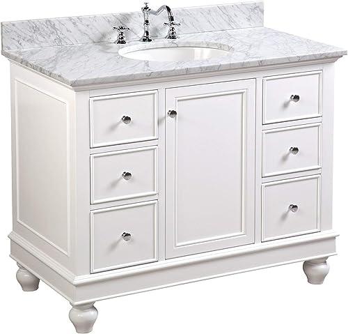 Bella 42-inch Bathroom Vanity Carrara/White : Includes White Cabinet