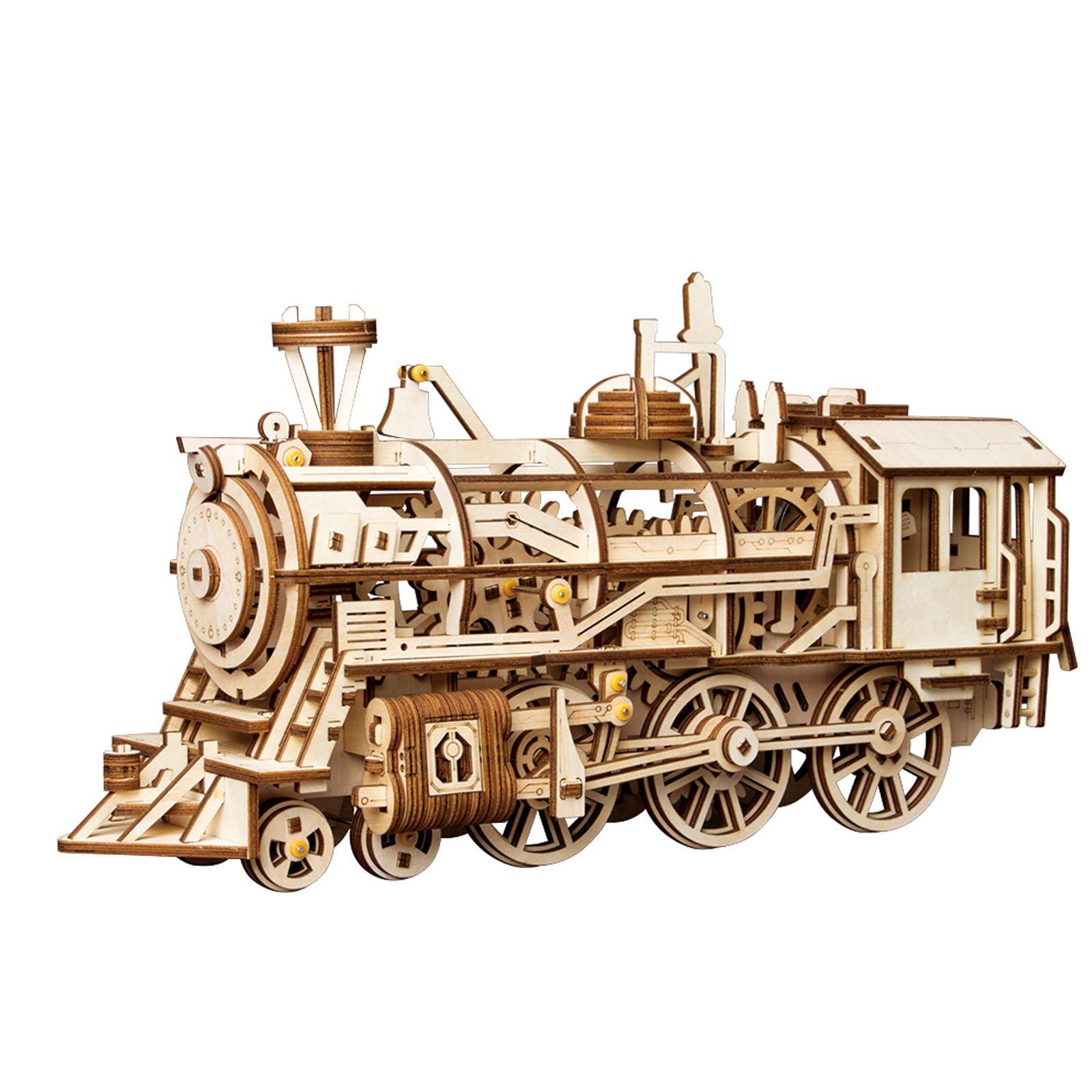 ROBOTIME 動く木製パズル 機関車 LOCOMOTIVE ぜんまい式 レーザーカット 日本語訳説明書付き 349ピース 約370×120×185mm LK701