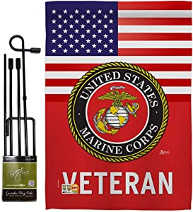 US Marine Corps Veteran Garden Flag - Set with Stand Armed Forces USMC Semper Fi United State American Military Retire Official - House Banner Small Yard Gift Double-Sided Made in USA 13 X 18.5