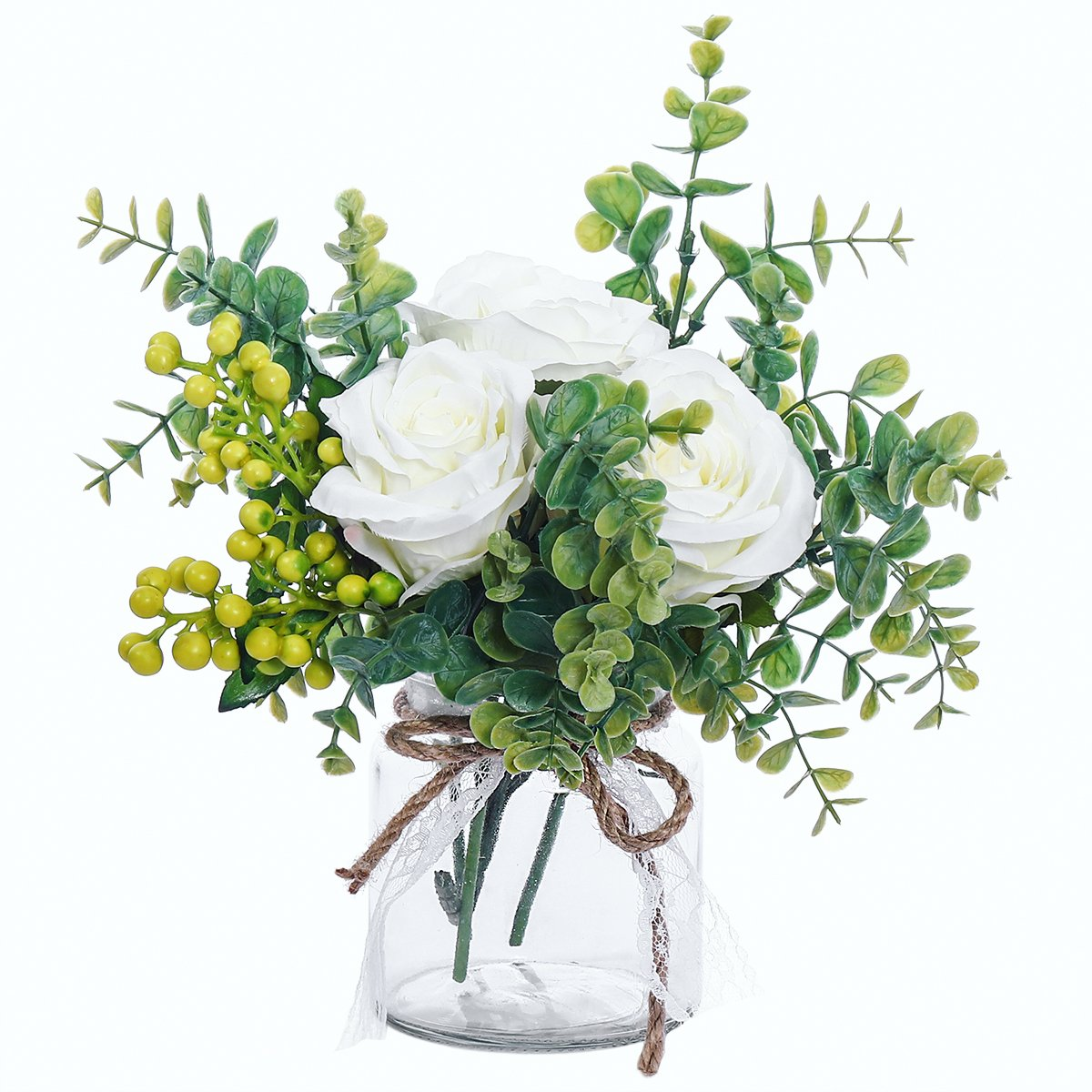 PARTY JOY Vintage Artificial Silk Rose EucalyptusFlower Bouquet Wedding Party Home Decor,(1, Champagne rose & eucalyptus) XBMGYJL-XB-1