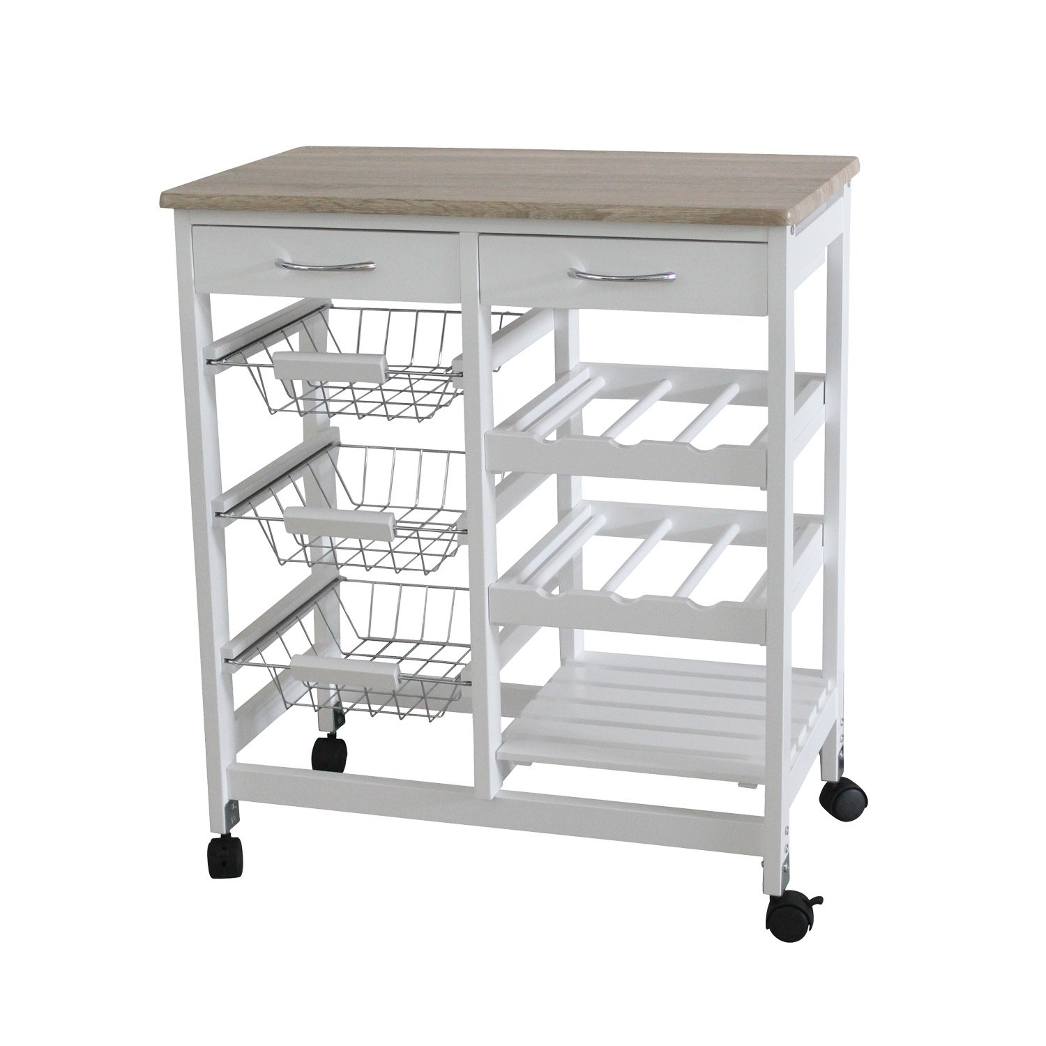 Superieur Amazon.com: Home Basics Portable Kitchen Storage Island Trolley Cart With 2  Drawers White And Oak: Home U0026 Kitchen