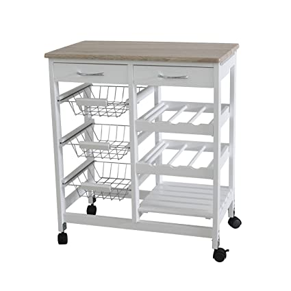 Home Basics Portable Kitchen Storage Island Trolley Cart with 2 Drawers  White and Oak