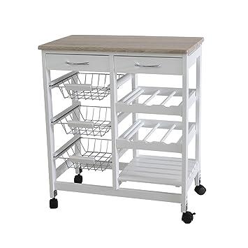 home basics portable kitchen storage island trolley cart with 2 drawers white and oak amazon com  home basics portable kitchen storage island trolley      rh   amazon com