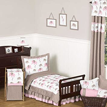 pink and brown mod elephant girl toddler bedding 5 piece set - Toddler Bedding For Girls