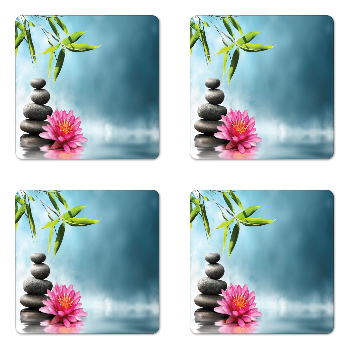 Ambesonne Spa Coaster Set of Four, Spa Theme with Lily Lotus Flower and Rocks Yoga Style Purifying Your Soul Theme, Square Hardboard Gloss Coasters for Drinks, Blue Pink Green