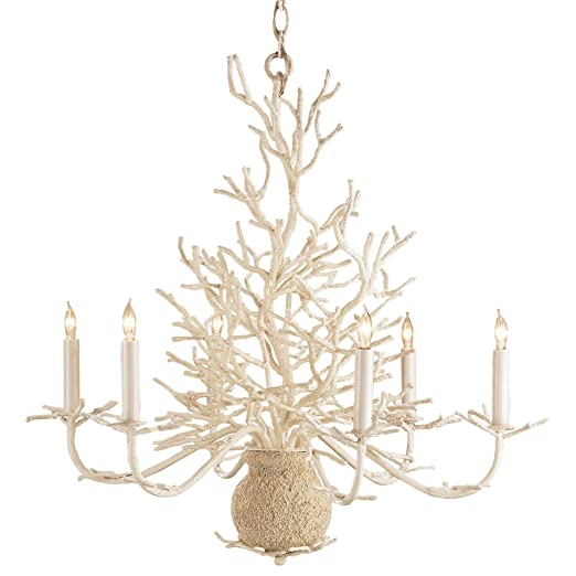 Christmas Tablescape Decor - Seasong white coral vintage shabby chic coastal chandelier