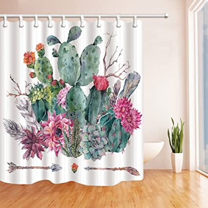NYMB Botanical Prickly Pear Cactus Shower Curtains For Bathroom Exotic Watercolor Flower In Boho