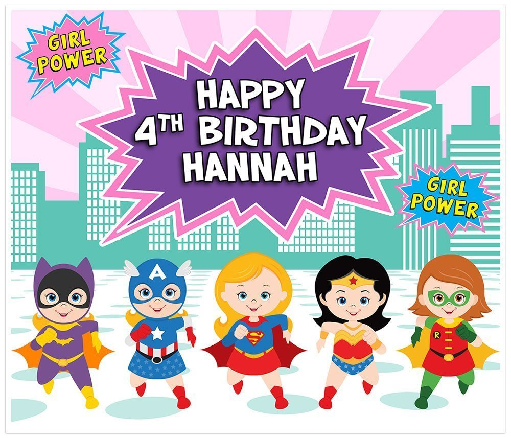 Superhero Girl Wonder Woman Birthday Banner Personalized Party Backdrop Decoration