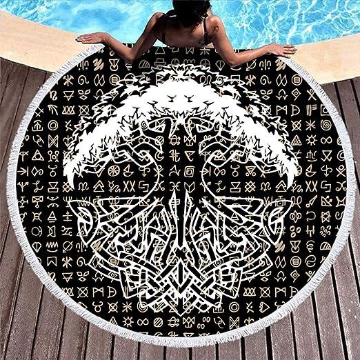 MINNOMO Toalla de Playa Redonda borlas, Color Negro, diseño Celta ...