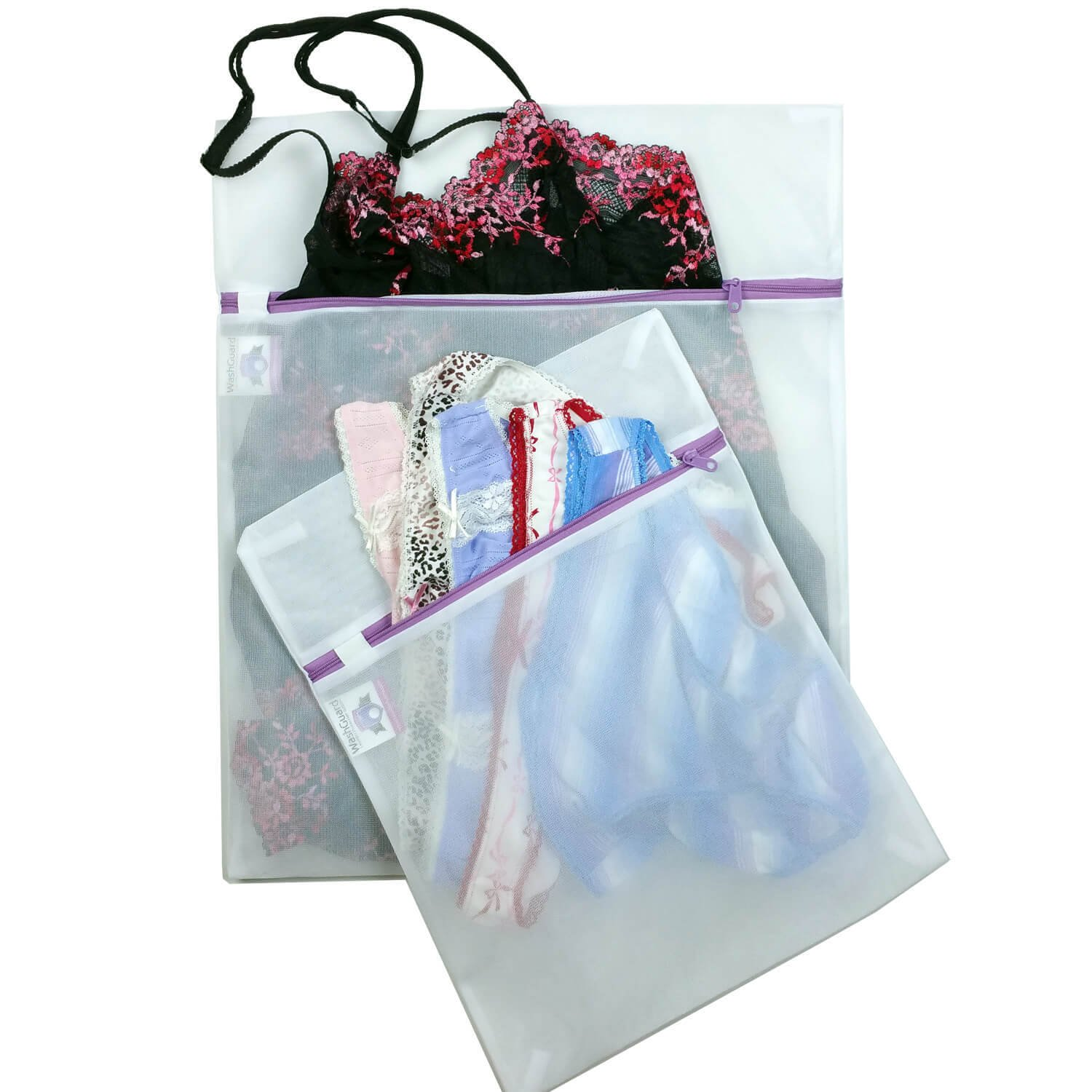 2 Lingerie Bags for Laundry - Premium Zippered Mesh Wash Bag Protects Delicates in The Washer - No More Snags, Knotting or Napping - 2 Pack (1 Medium + 1 Large)