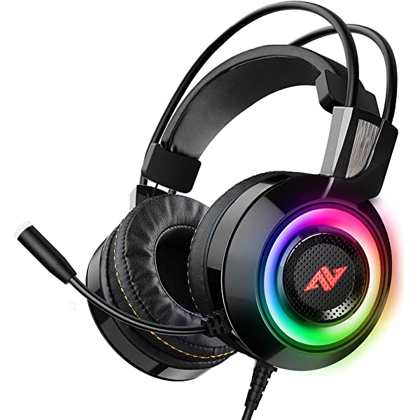 Amazon Com Abkoncore Ch60 Gaming Headset With True 7 1 Surround Sound For Pc Ps4 Laptop Bass Vibration Noise Cancelling Soft Earmuffs Headphones With Mic Led Light In Line Controller For Fps Games Electronics