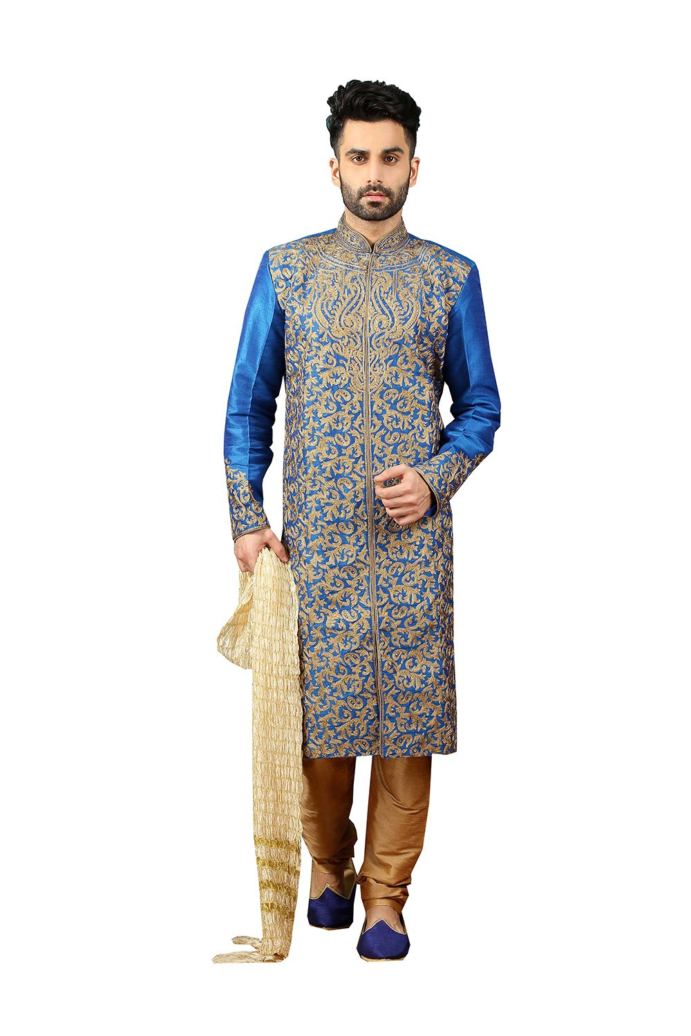 Mens Kurta Pajama Wedding Blue Designer Partywear Traditional In Blue Art Banarasi Silk