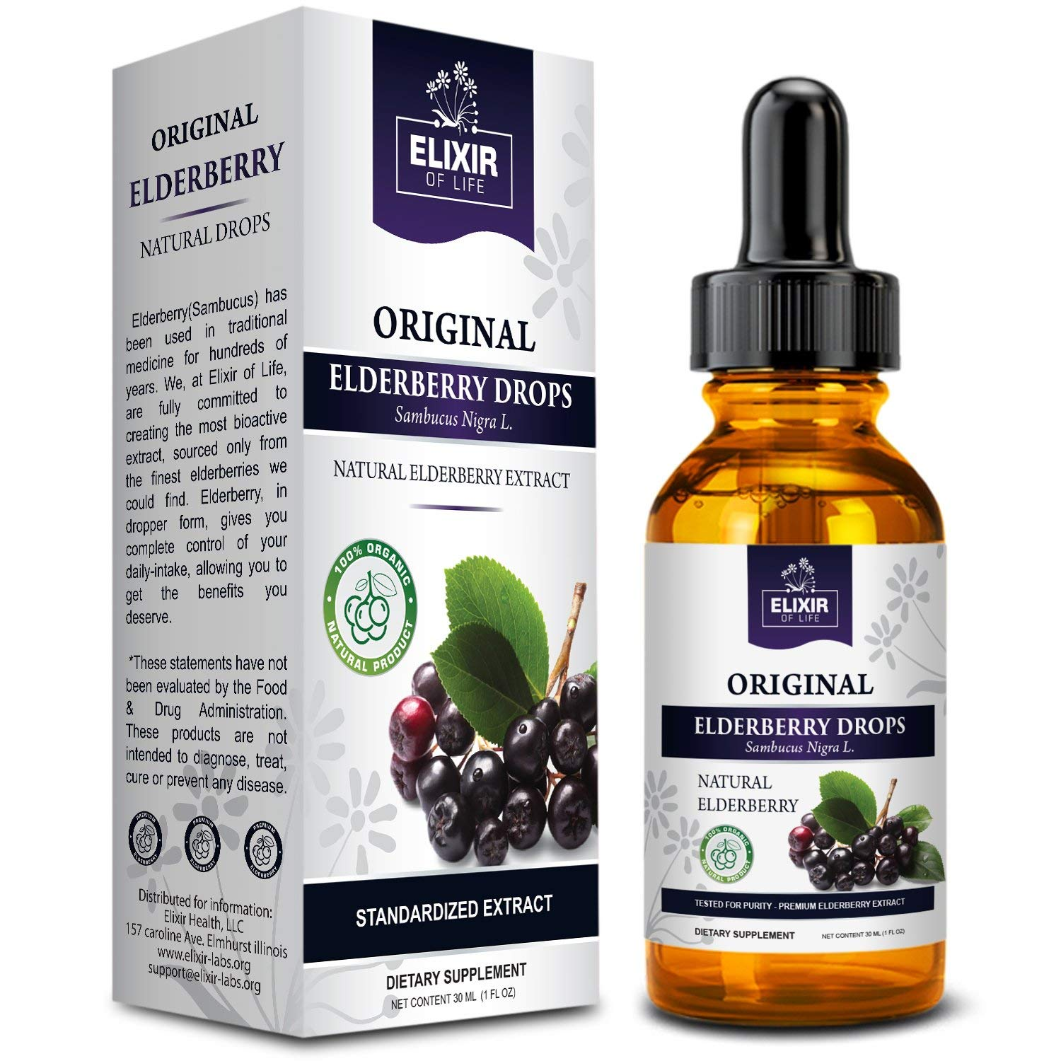 Elderberry Drops - Potent Immunity booster, Allergy relief, Cold & Seasonal  Relief - Sambucus Nigra -