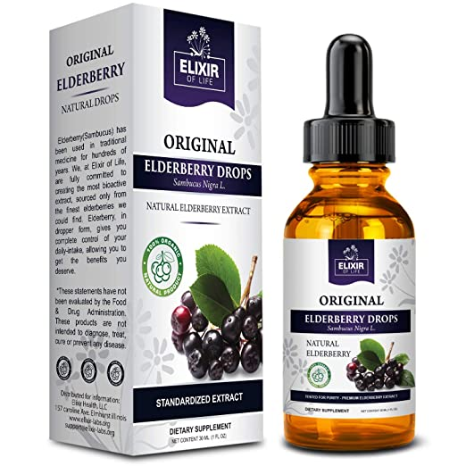 Elderberry Drops - Potent Immunity booster, Allergy relief, Cold & Seasonal Relief - Sambucus Nigra - USA Made Best Natural Allergy Remedies
