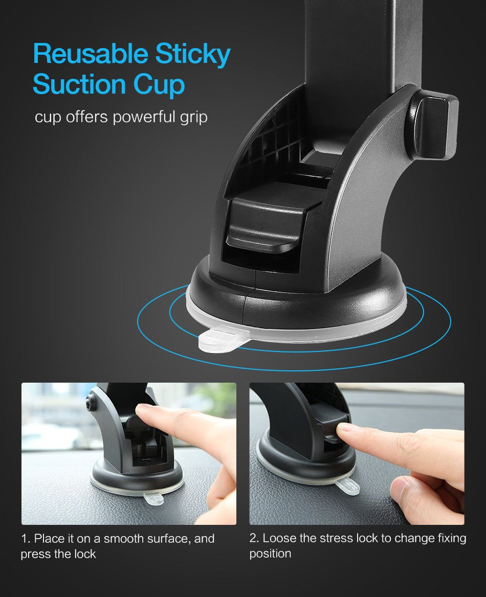 Electrilucn Automatically Locking Windshield Phone Holder, Universal FIT