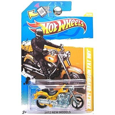 Hot Wheels 2012 New Models Harley Davidson Fat Boy Bike Motorcycle Yellow: Toys & Games
