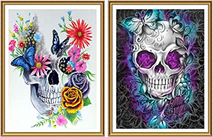 SKRYUIE 5D Diamond Painting Skull with Butterfly Full Drill Paint with Diamond Art DIY Skeleton Flower Painting by Number Kits Cross Stitch Embroidery Rhinestone Wall Home Decor 30x40cm 12x16