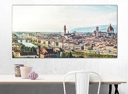 Cuadro XXL sobre Lienzo, Imagen Panorámica 100x50cm, Florencia Toscana, Puente Vecchio, Italia Ciudad y Paisajes Urbanos - Decoración de Pared, Imagen Panorámica - Una Pieza