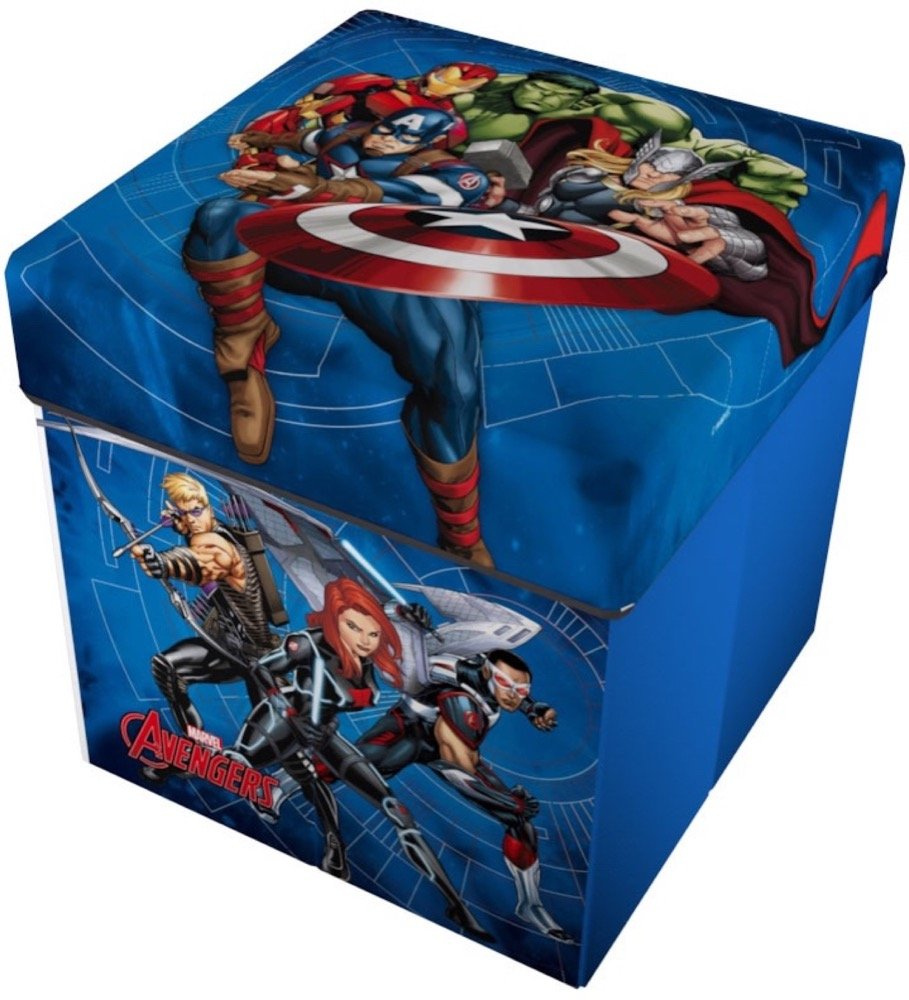 Star Licensing Marvel Avengers - Puf contenedor con cojín, poliéster, 32 x 32 x 32 cm
