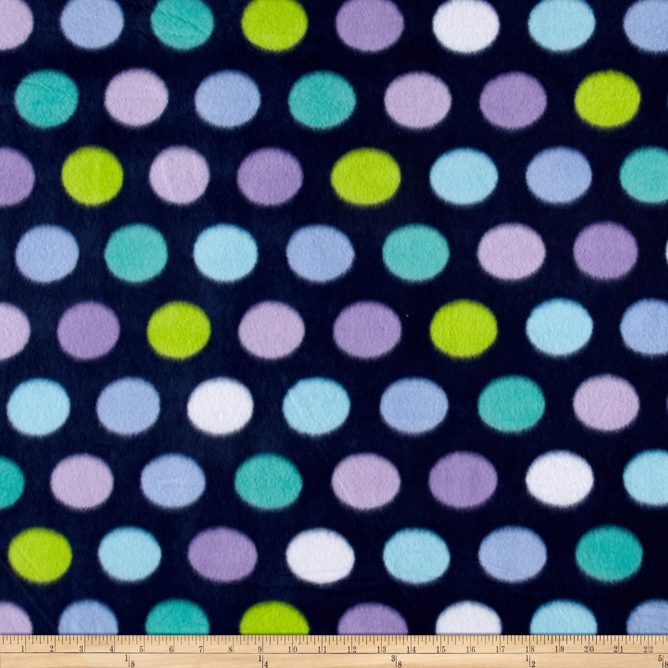Newcastle Fabrics Polar Fleece Print Fun Dot Navy Fabric by The Yard, Navy 0441442