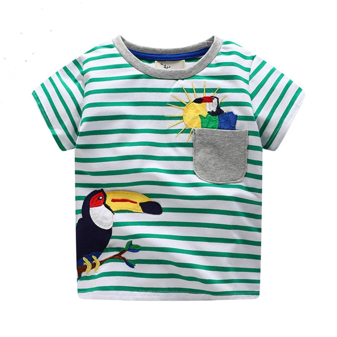 Zerototens Short Sleeve T-Shirt for 1-8 Years Old Kids,Toddler Kids Baby Boys Girls Clothes O Neck Colorful Cartoon Print Car Patchwork T-Shirt Blouse Children Summer Sportwear Outfit