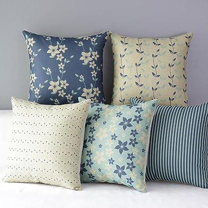 FabThing Hogar 5 Cojines Flores Algodón y Lino Decorativa Almohadas Fundas para Sofá Cama Sala 45X45cm Azul
