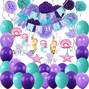 Mermaid Birthday Party Supplies Decorations, Banners, Pom Poms, Hanging Swirls, Balloons for Under The Sea Theme Decor, Gift for Girl's Kids Birthday and Baby Shower