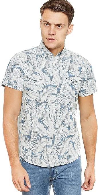 BLEND Camisa Denim Estampado Palmera S: Amazon.es: Ropa