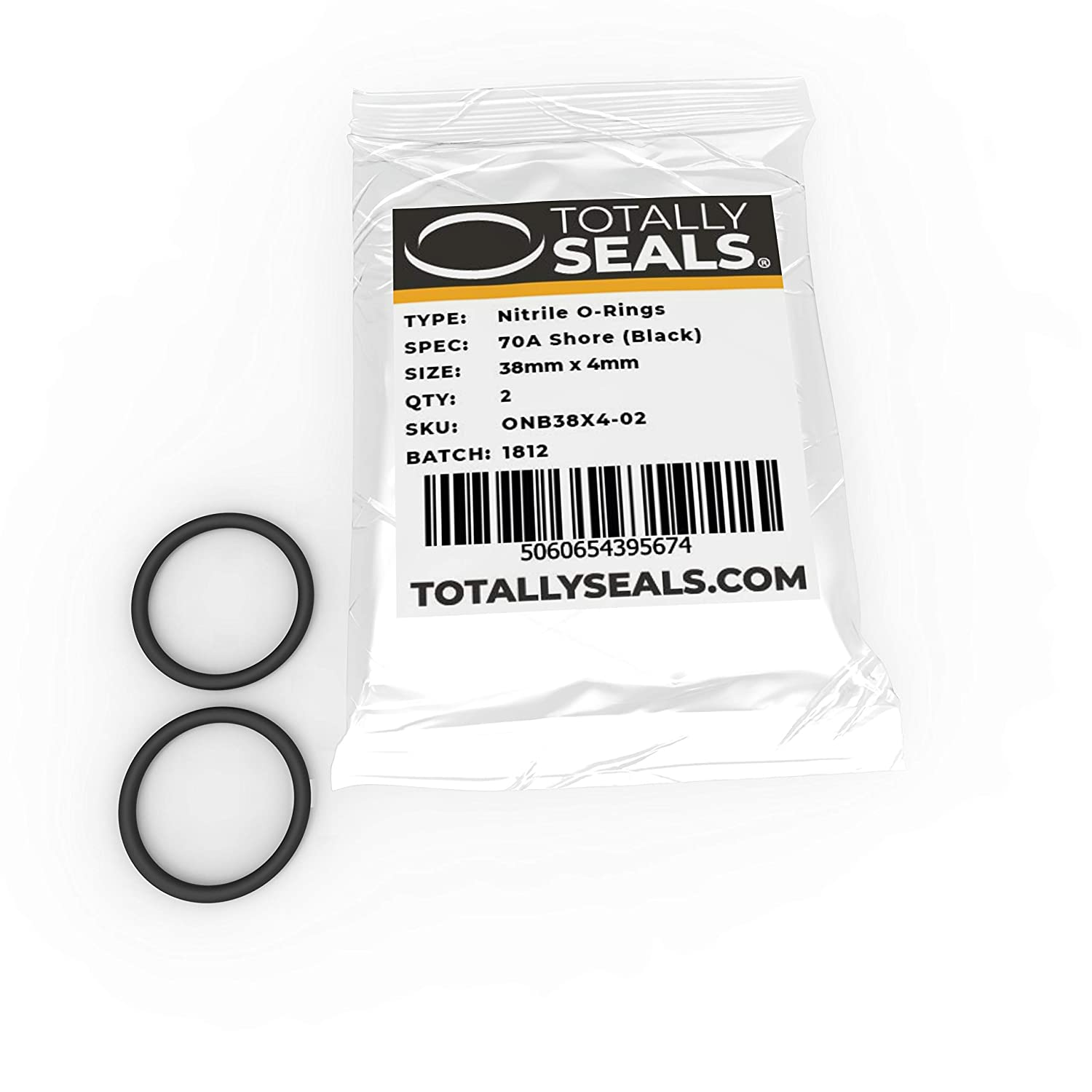 38mm x 4mm (46mm OD) Nitrile Rubber O-Rings 70A Shore Hardness - Pack of 10