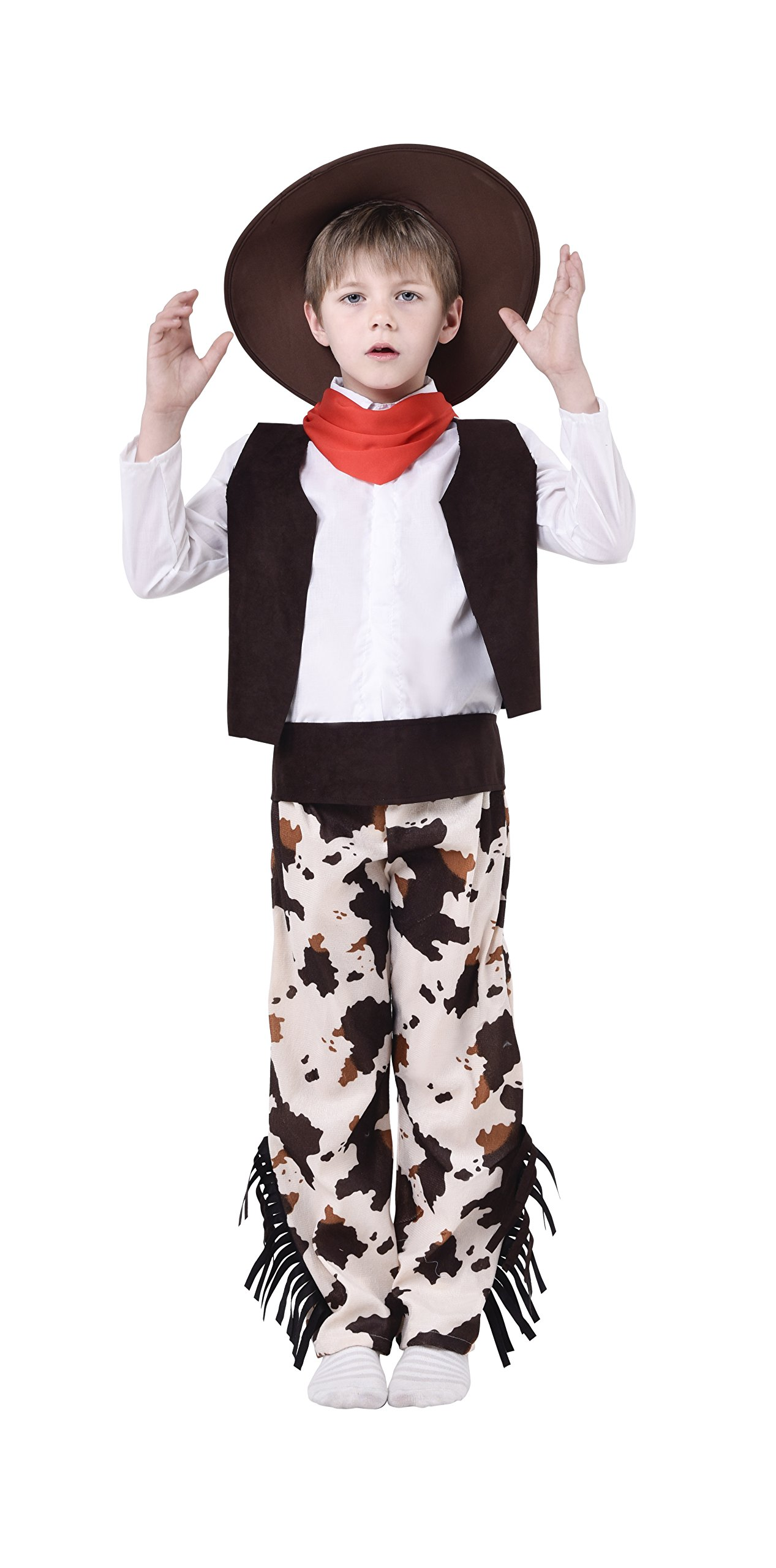 Blue Panda Cowboy Costume for Kids - 5-Piece Western Cowboy Outfit Dress-up for Boys, Age 5-7
