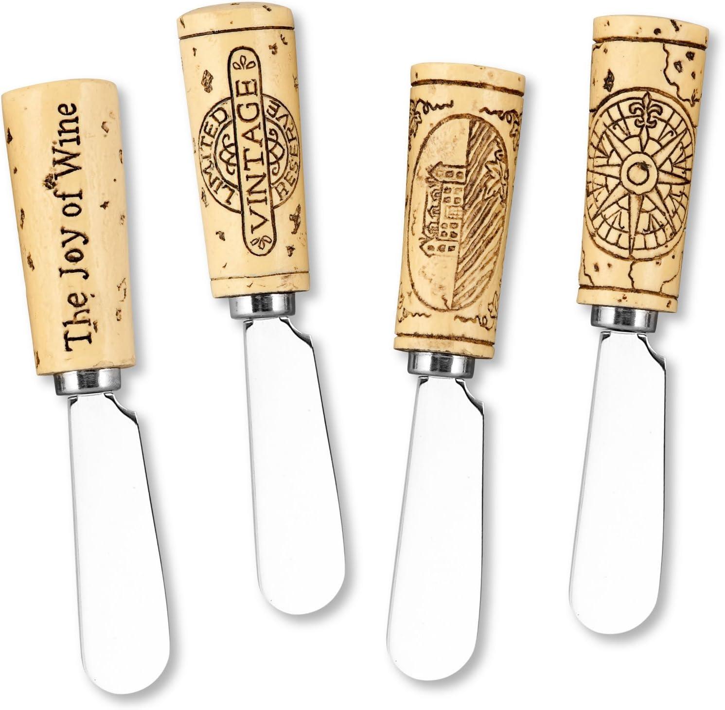 """Supreme Housewares Vintage Wine Cork Resin Cheese Spreaders Set of 4, 5"""", Brown"""