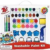 TBC Washable Paint Set for Kids, Big and Rich Paint Set, Assortment of 12 Tempera Paints, 16 Water Colors, 4 Finger Paints, 3 Artist Brushes, 2 Finger Tip Brushes, 1 Sponge Roller and 4 Sponge Stamps.