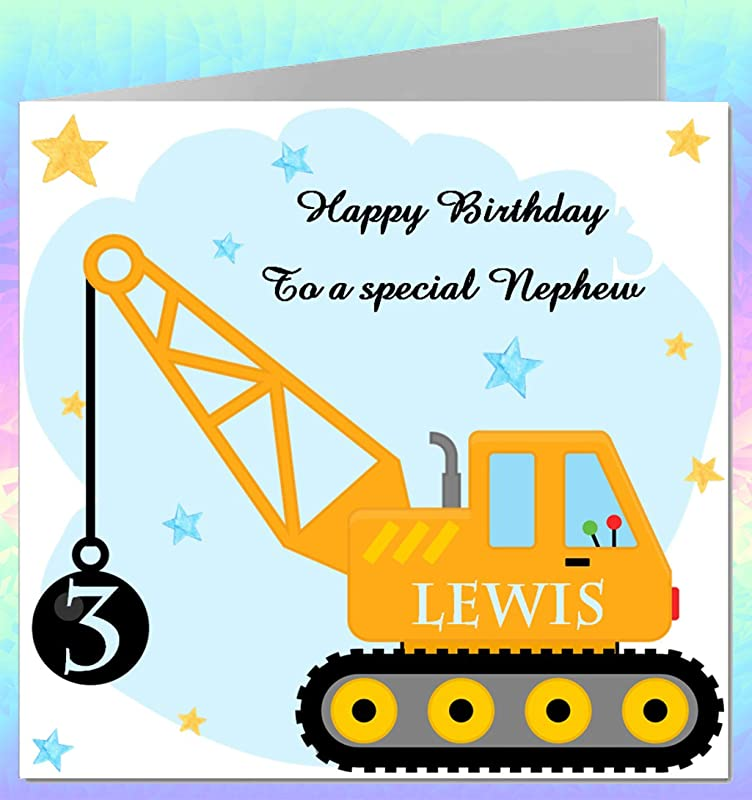 Personalised LEGO ® Digger birthday card Son Brother Nephew Grandson child Scoop